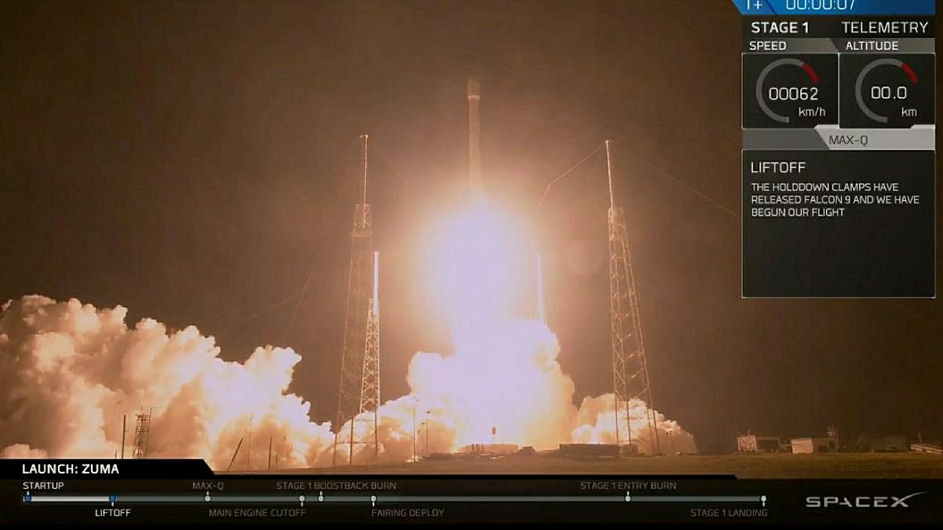 ВSpace X опровергают утерю спутника Zuma из-за нештатной работы ракеты
