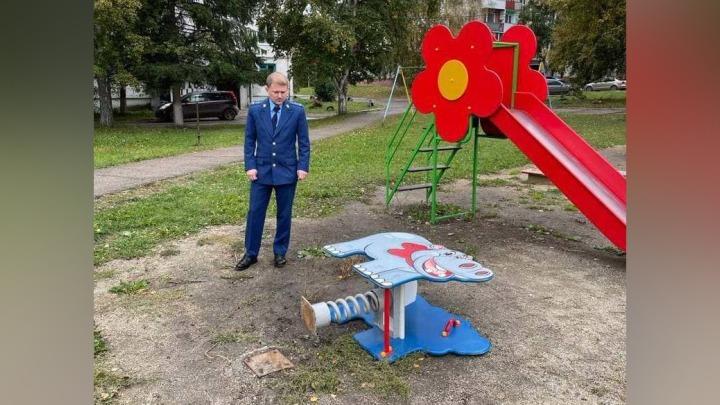 Прокуратура проверит детскую площадку в Юрге, где из-за бегемота пострадала девочка