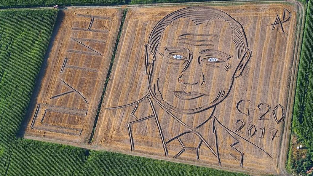 Появилось космическое фото портрета Путина на поле