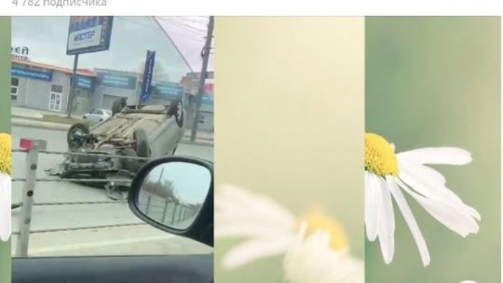 Звездочку на фюзеляж: в Челябинске FIAT перевернулся, наехав на тросовое ограждение