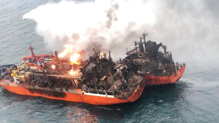 Горящие в районе Керченского пролива танкеры накроет шторм
