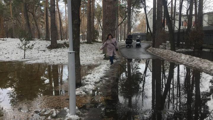 Зеленую Рощу размыло: реконструированный парк в Екатеринбурге превратился в болото