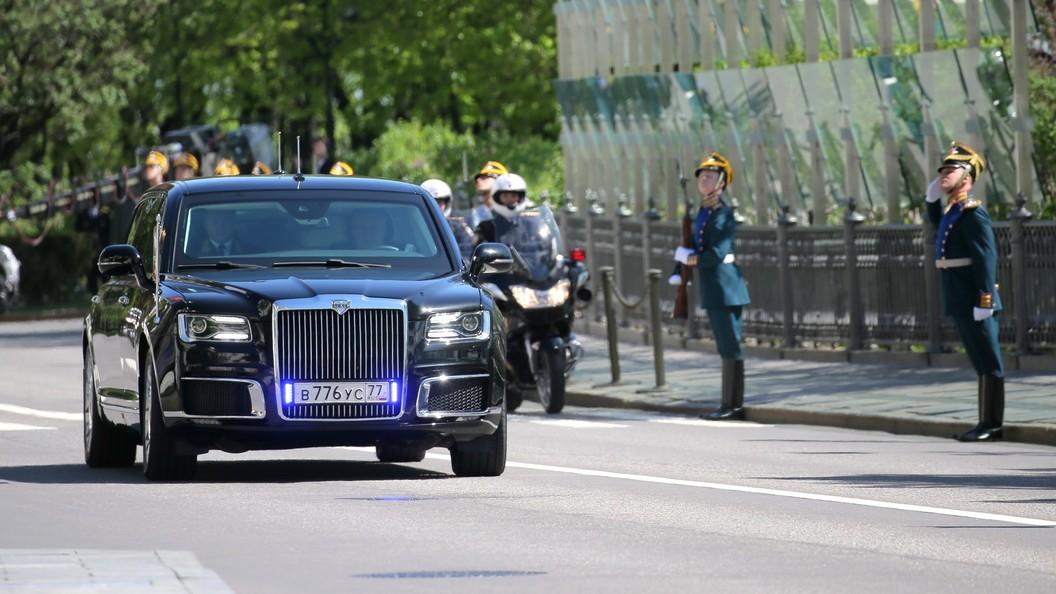 Путин приехал наинаугурацию нановом отечественном автомобиле серии «Кортеж»