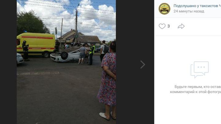 В Челябинске опрокинулось такси с пассажиром