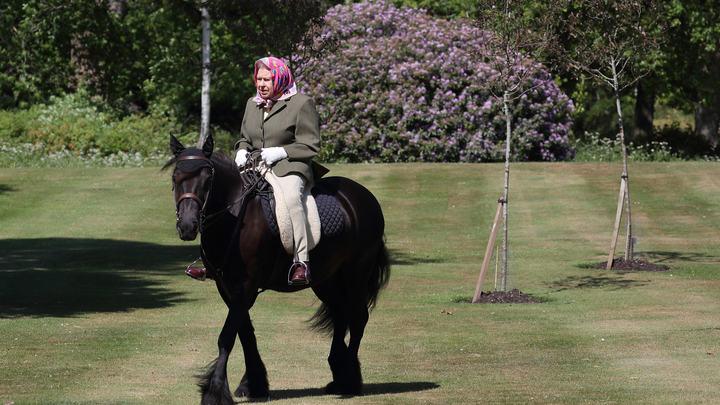 В цветастом платочке и на коне: Британская королева показалась на публике