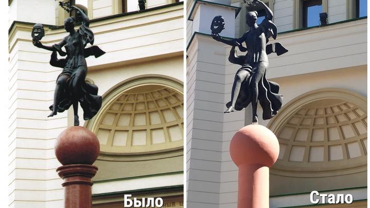 Нижегородцы возмущены реставрацией колонны с музой у театра Комедiя