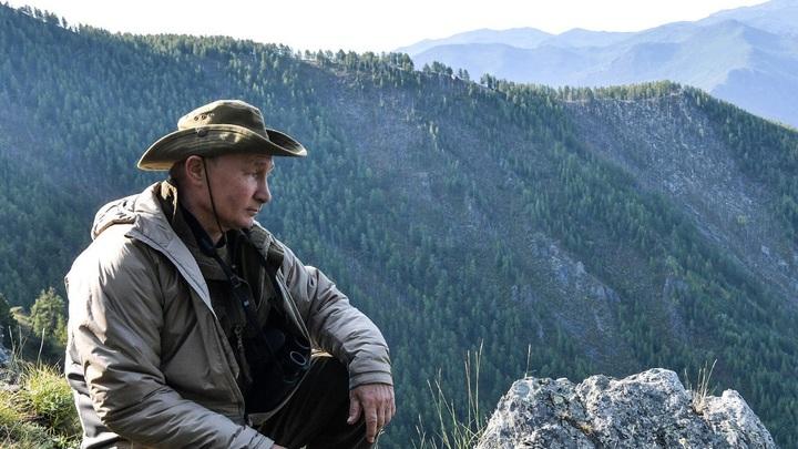 «В честь этого кустика назовем следующую ракету»: В Сети обсуждают фото Путина с мини-отпуска в горах Тувы