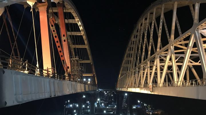 Опубликовано видео Крымского моста, соединившего два берега