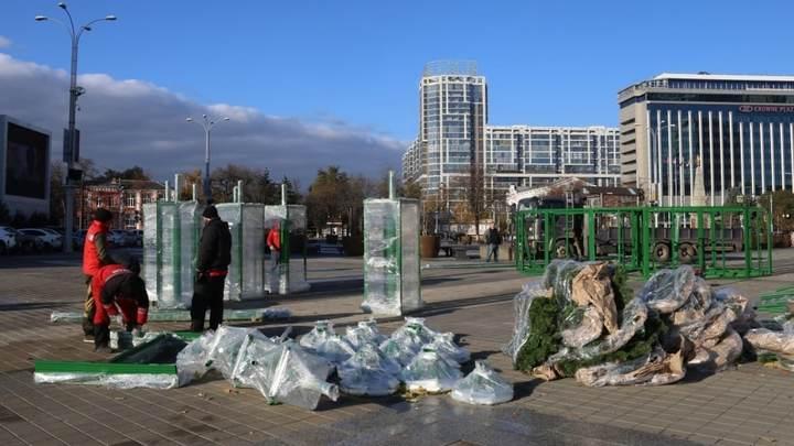 Установит город, украсит бизнесмен: В Краснодаре наряжают главную городскую елку