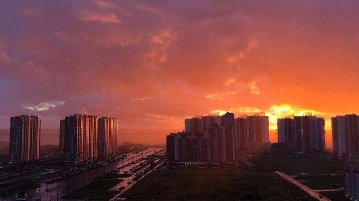 После суперливня небо над Петербургом стало кроваво-красным: фотографии заката