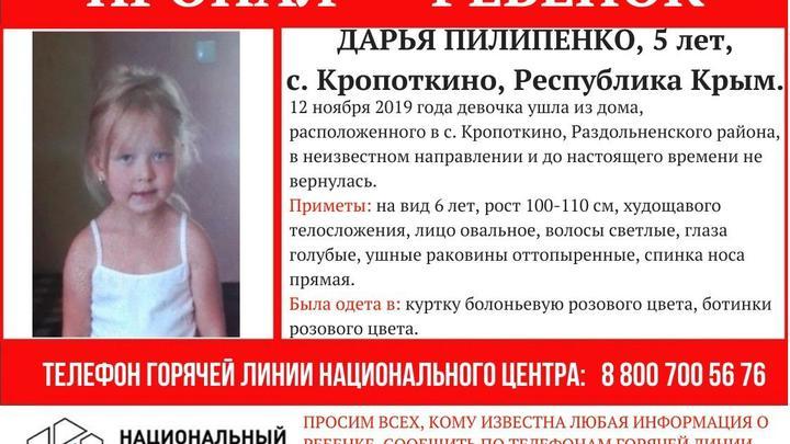 Розовая курточка, яркие ботиночки: Десятки волонтёров разыскивают пятилетнюю малышку в Крыму