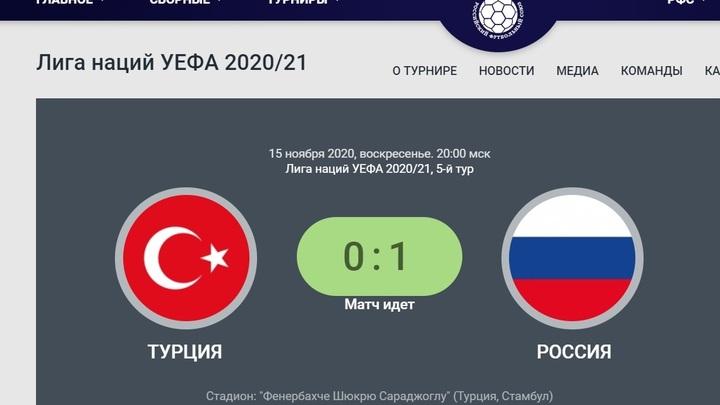 Россия - Турция: Русские забили первый гол. Прямая трансляция
