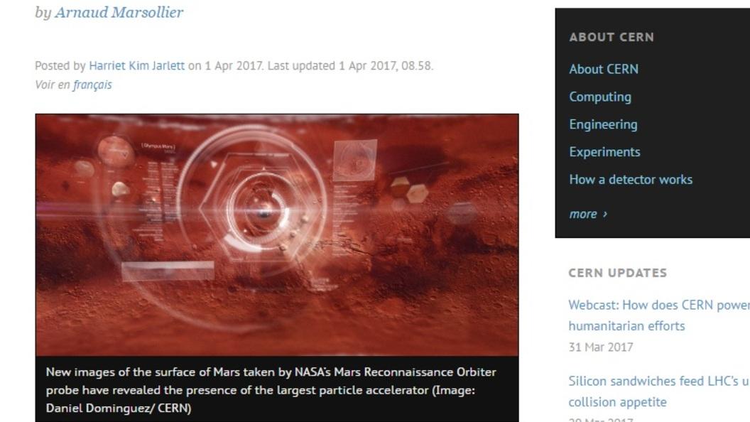 В CERN показали фото первоапрельского суперколлайдера на Марсе