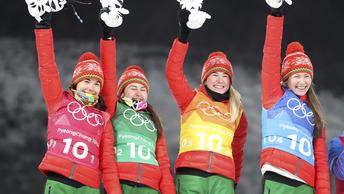 Потерянный флаг не остановил белорусскую биатлонистку на пути к олимпийскому золоту - видео