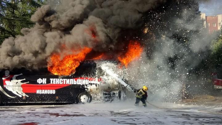 Во Владимире сгорел автобус ивановского «Текстильщика»