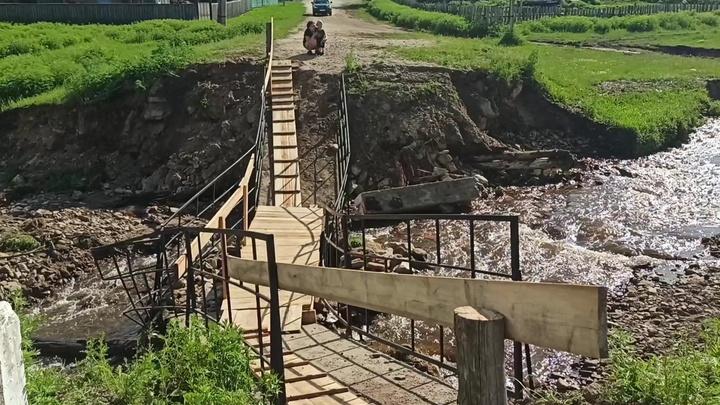 Пострадавший от большой воды мост в Балее заменили на временный