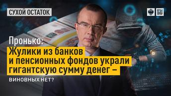 Пронько: Жулики из банков и пенсионных фондов украли гигантскую сумму денег – виновных нет?