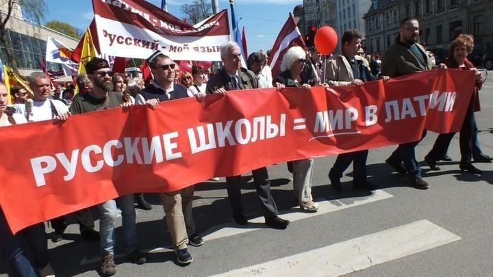 У входа в Европарламент били в барабаны в защиту русских школ в Латвии