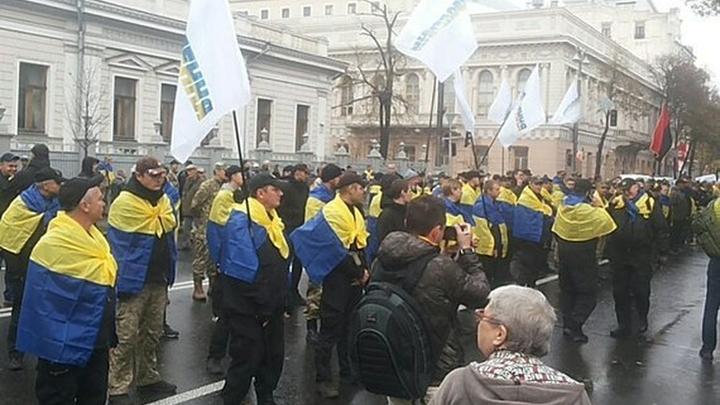 Плакаты Где отрубленные руки? намитинге вКиеве унационалистов отобрали сторонники Порошенко