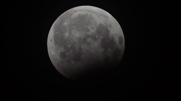Кровавая луна над Санкт-Петербургом попала в объектив видеокамеры