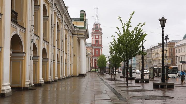 Уходившая от столкновения иномарка вылетела на тротуар в центре Петербурга