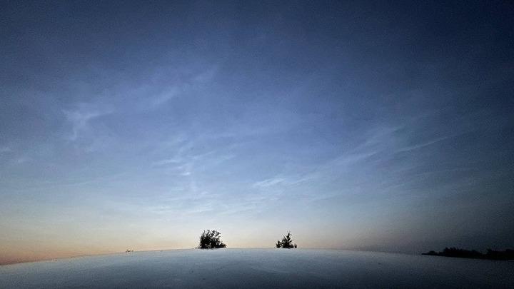 В небе над Петербургом заметили редкое природное явление – светящиеся облака