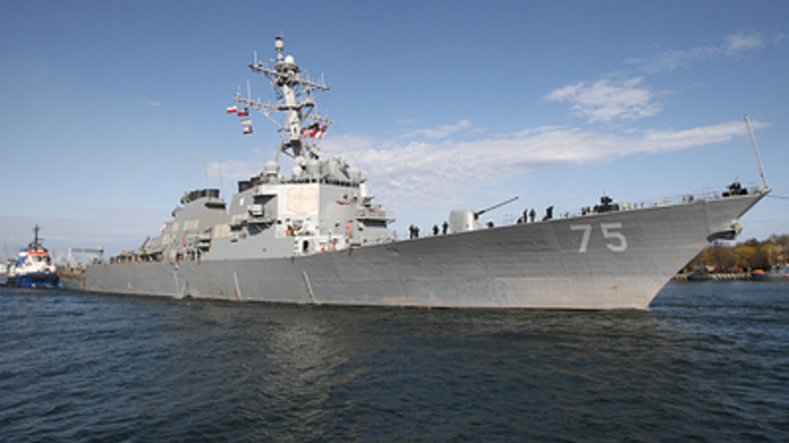 Опубликовано видео прощания русских фрегатов с эсминцем Дональдом Куком - зажали американца в Эгейском море