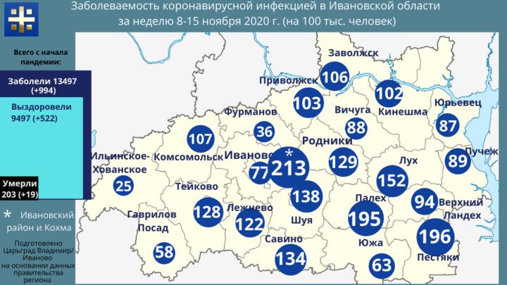 Самым заразным в Ивановской области стал Ивановский район