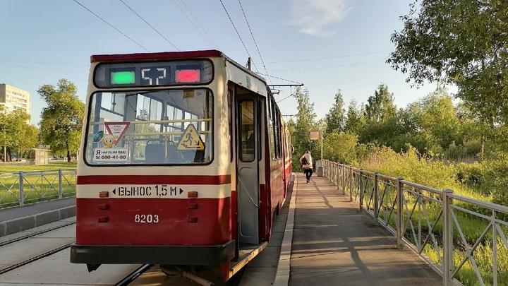 Коммунальная авария остановила движение трамваев по Среднеохтинскому проспекту в Петербурге