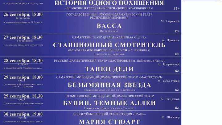 В Самаре 25 сентября открылся фестиваль Волга театральная