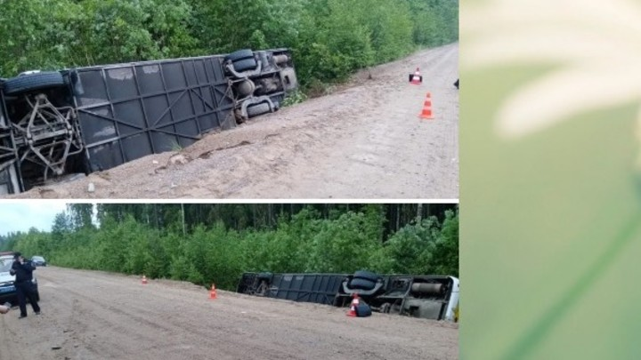 Экскурсионный автобус перевернулся в Ленинградской области: 10 человек госпитализировали