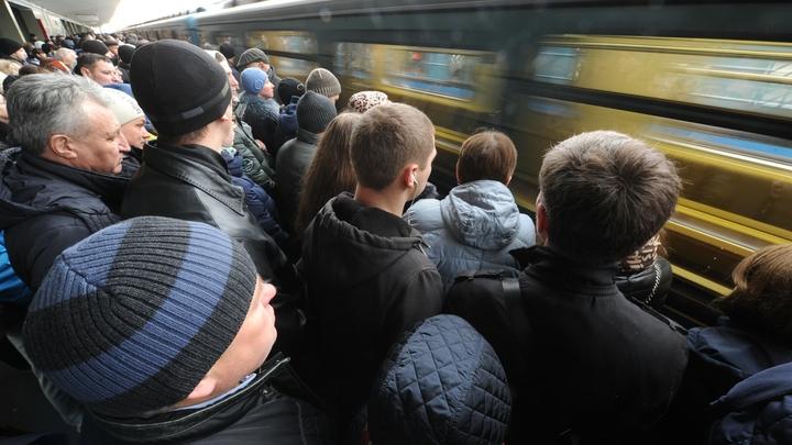 Зеленая ветка Московского метрополитена все еще стоит. Вокруг давка - фото, видео