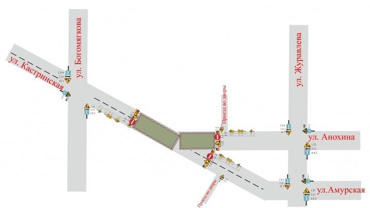 В Чите на 1,5 месяца перекроют перекресток Кастринской и Анохина