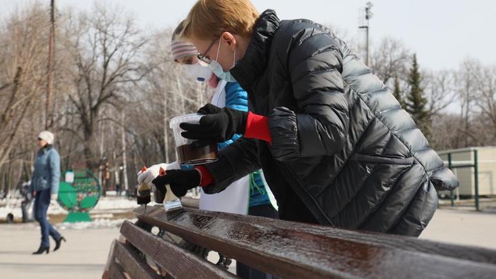 Глава Самары Елена Лапушкина лично покрасила лавочки в парке Гагарина